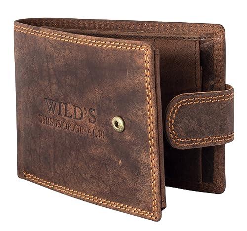 e31c2c7325579 Halal-Wear Herren Ledergeldbörse Querformat Braun - mit Clipverschluss  Vintageleder Geldbeutel Geldbörse Portemonnaie Brieftasche W02L