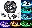 LED ruban Bande LED Lumineuse - Duractron Ruban à LED Etanche (5m) 5050 RGB SMD Multicolore 300 LEDs 60W, avec Télécommande à Infrarouge 44 Touches et Alimentation 5A 12V