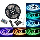 Duractron Kit de Ruban à LED (5m) 5050 RGB SMD Multicolore 300 LEDs 60W, Bande Ruban Etanche avec Télécommande à Infrarouge 44 Touches et Alimentation 2A 12V
