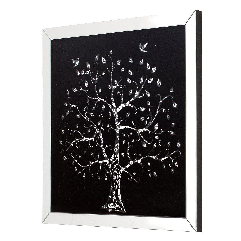 Invicta Interior Exklusive Wandskulptur Bild Mirror Tree 80x80 cm Glaskristalle Wandbild Dekoration Accessoire schwarz Spiegelglas Glas