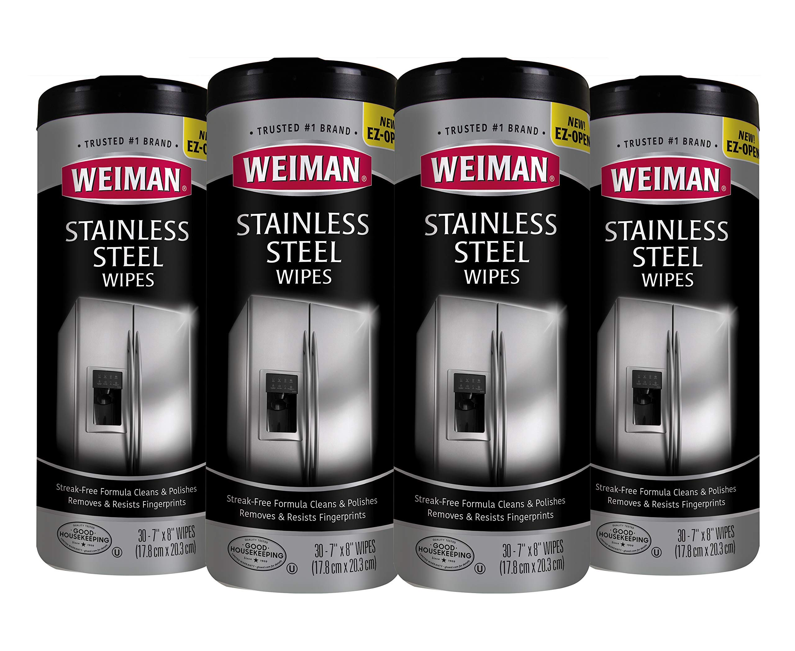 Weiman Stainless Steel Cleaner Wipes (4 Pack) Removes Fingerprints, Residue, Water Marks and Grease from Appliances - Works Great on Refrigerators, Dishwashers, Ovens, and Grills by Weiman