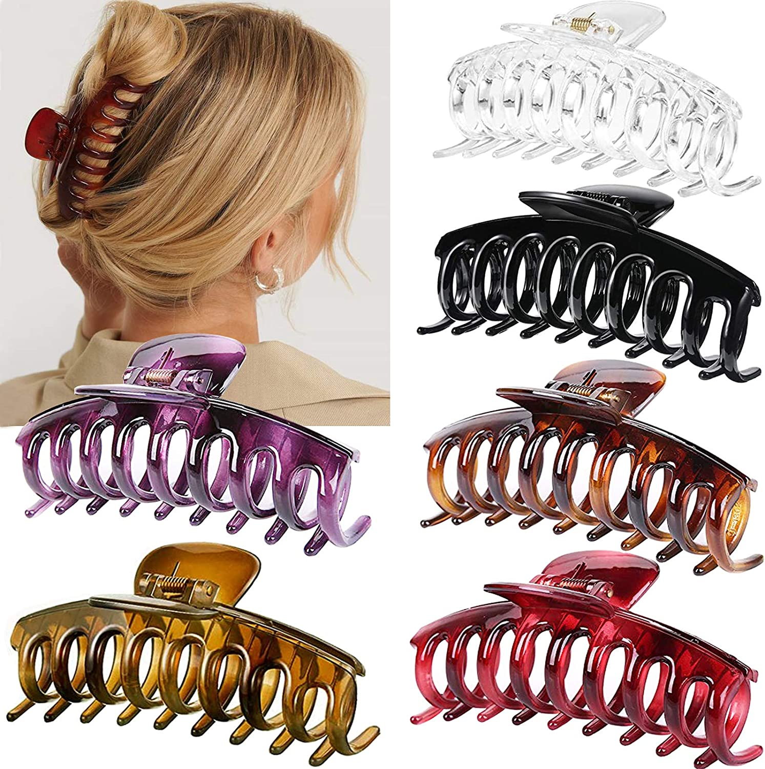Details about  /Jumbo Banana Comb Clip Thick Hair Riser Claw Interlocking Jaw Clips USA Stock