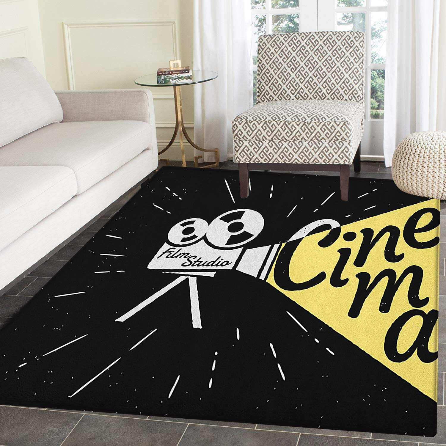 Movie Theater Area Silky Smooth Rugs Movie Projector Sketch with Grunge Cinema Lettering on Black Backdrop Floor Mat Pattern 4'x6' Yellow Black White