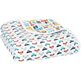 aden + anais Zutano Dream Blanket, 100% Cotton Muslin, 4 Layer lightweight and breathable, Large 47 X 47 inch, Pup In Tow
