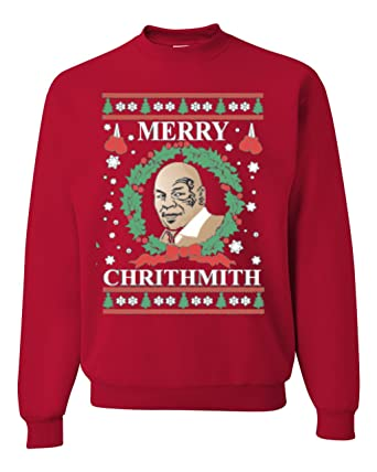 merry chirithmith mike tyson ugly christmas sweater unisex sweatshirts red s