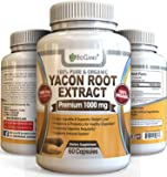 Organic Yacon Root Syrup Extract 1000mg serving - Raw Natural Prebiotic & Probiotic Supplement, Rich in FOS & Antioxidants - Research Verified To Support Healthy Digestion & Weight Loss (60 Capsules)