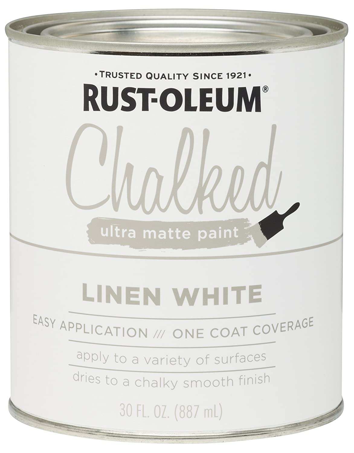 Rust Oleum 285140 Ultra Matte Interior Chalked Paint 30 Oz, Linen White