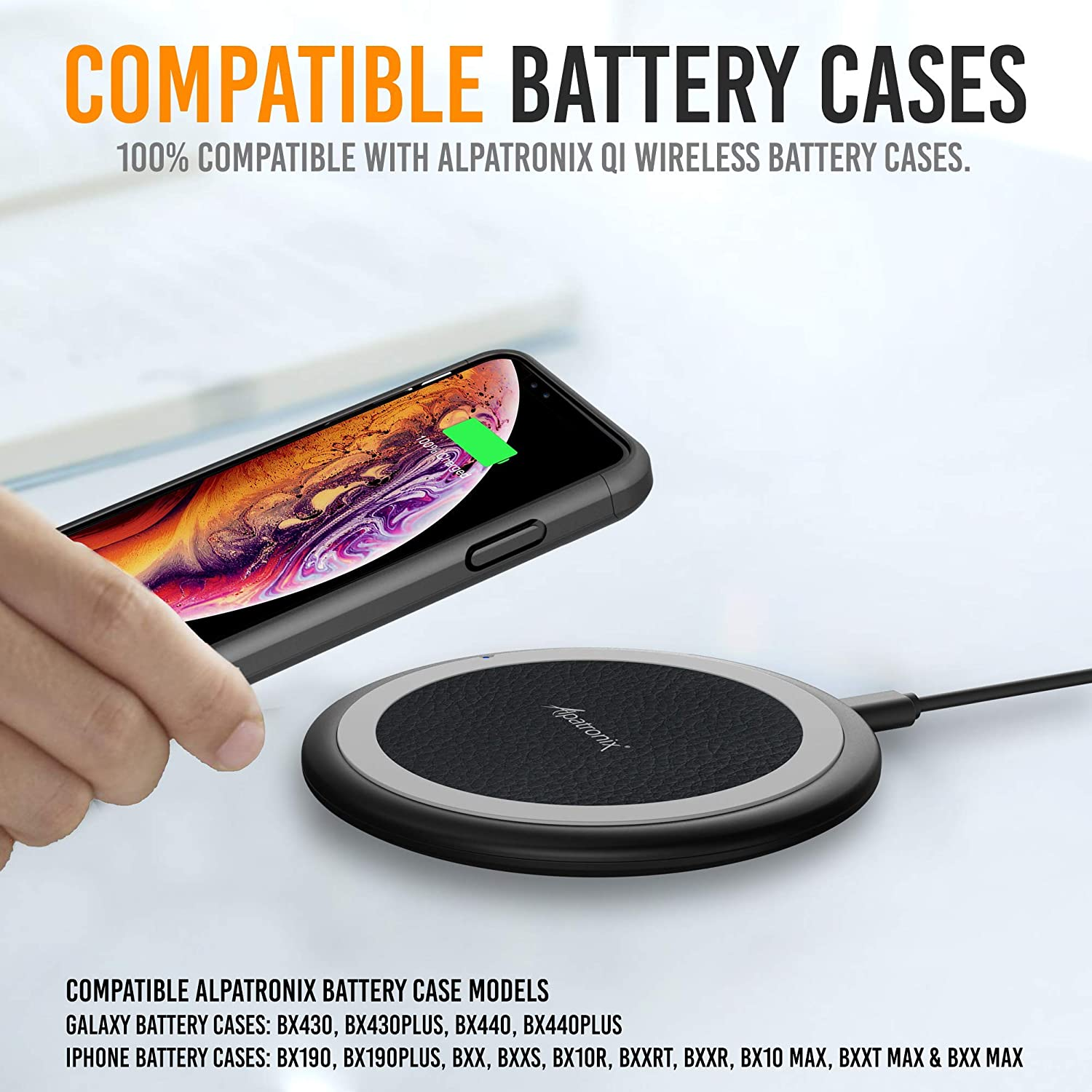 Wireless Charger Black Galaxy S10+//S9+//S8+//Note 8 7.5W 10W iPhone 11//Pro Max//XS Max//XR//XS//8 Plus No AC Adapter Alpatronix CX102 10W Qi-Certified Fast Quick Charge Charging Pad Compatible with