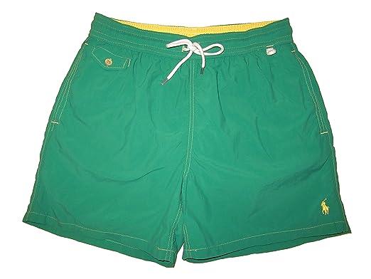 f2e8a906e4 RALPH LAUREN Polo Mens Traveler Swim Shorts Green | Amazon.com