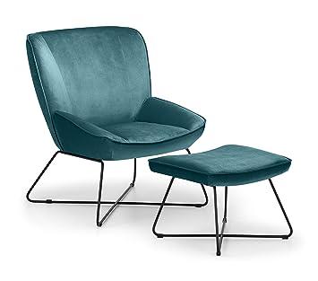 Cool Julian Bowen Mila Velvet Accent Chair With Stool Teal One Machost Co Dining Chair Design Ideas Machostcouk