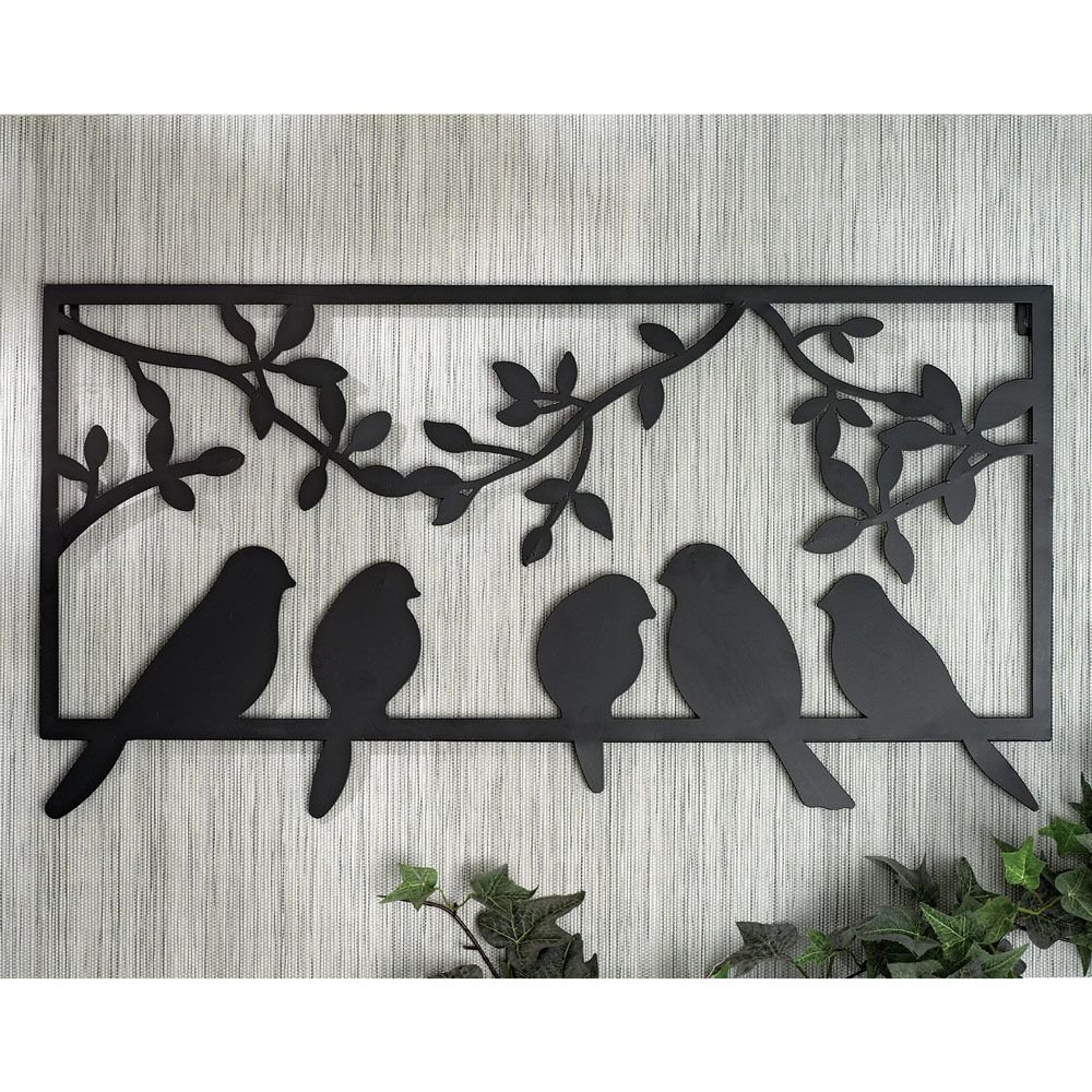 Amazon.com: Bits and Pieces - Bird Silhouette Wall Art - Metal ...