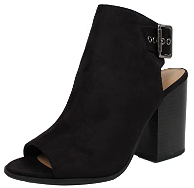 98f67a1eb5ab7 Soda Women's Peep Toe Faux Suede Slingback Thick Buckle Stacked Block Heel  Ankle Bootie