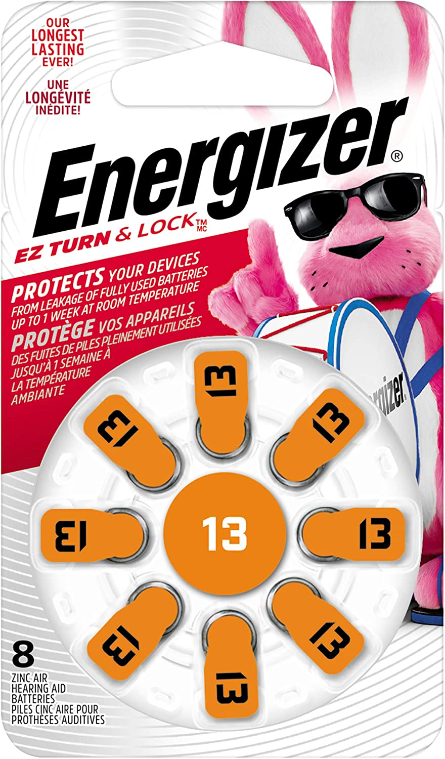 Energizer Hearing Aid Batteries Size 13, EZ Turn & Lock (8 Battery Count)