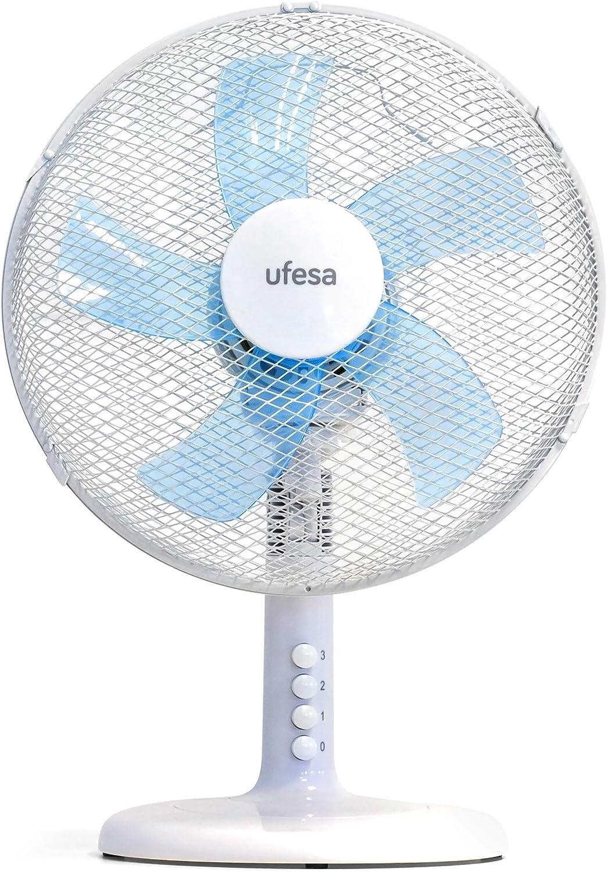 Ufesa TF0300 - Ventilador de sobremesa. 30cm diámetro, ULTRAFRESH 5,Diseñados con 5 hélices, 3 velocidades, Oscilación derecha/ izquierda 90º, Orientable