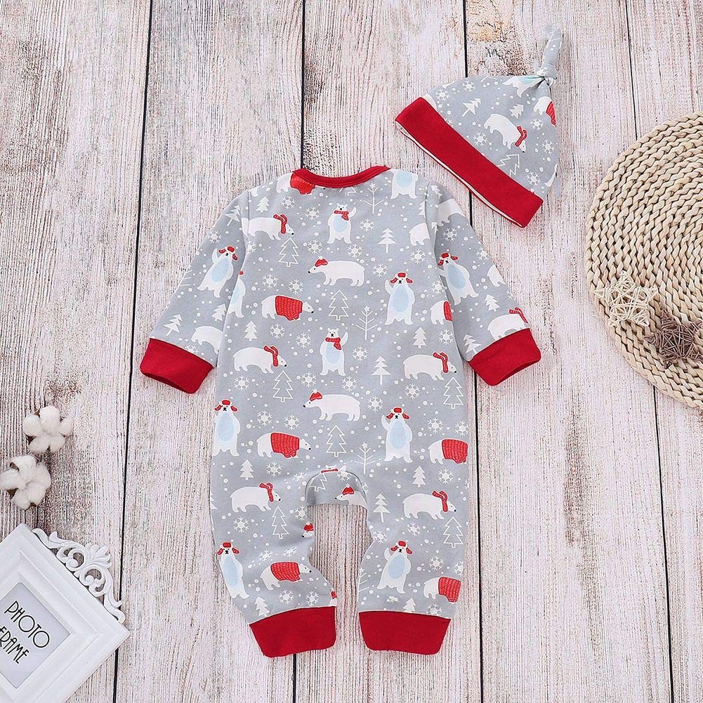 Timall Baby Boy Baby Girl 2Pcs Rompers Set Long Sleeve Cartoon Pattern Bodysuit Jumpsuit with Hat 3-18M