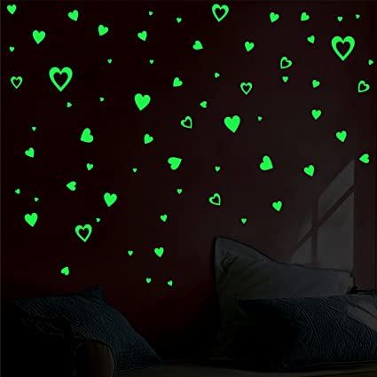 Decor kafe Pack of 2Glow in The Dark Hearts Decals Peel and Stick Stickers Removable Perfect Gift Kids Boys Girls