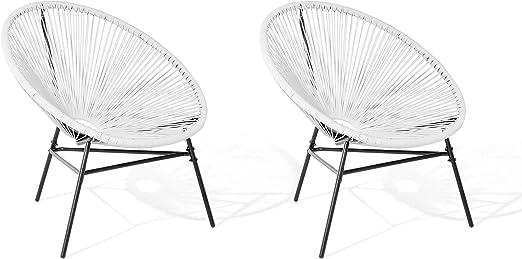 Beliani Juego de 2 sillas de jardín Naranja Acapulco: Beliani ...