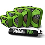 Shacke Pak - 4 Set Packing Cubes - Travel Organizers with Laundry Bag (Green Grass)