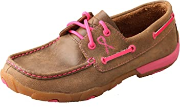 1659c458196 Twisted X Women s Leather Lace-Up Rubber Sole Driving Moccasins - Bomber  Pink