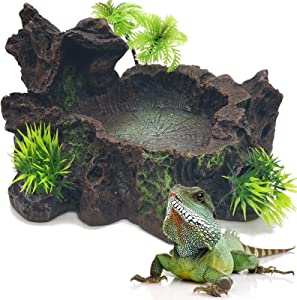 RONYOUNG Resin Reptile Platform Artificial Tree Trunk Reptile Tank Decor Food Water Dish Bowl for Bearded Dragon,Lizard, Gecko, Water Frog,Snake