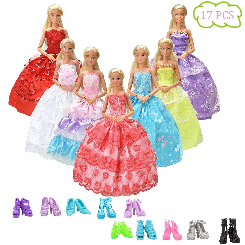 Amazon.es: WENTS Ropa y Zapatos para Muñeca Barbie 7 Piezas Moda ...