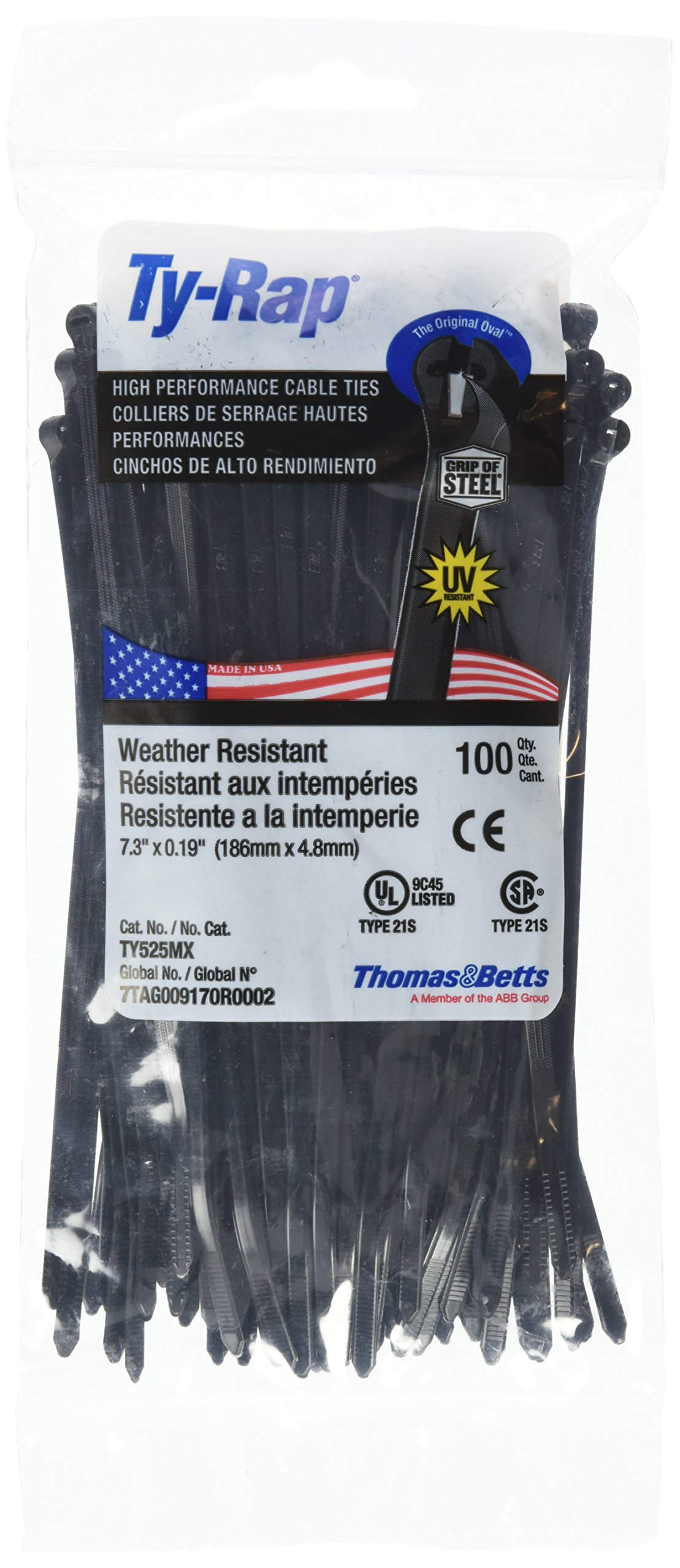 Thomas and Betts TR TY525MX CABLE TIE 50LB 7'' UV BLK (Pack of 100)