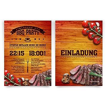 Einladungskarten Zum Geburtstag (30 Stück) Im BBQ Design Barbecue Grill  Steak Essen Grillen