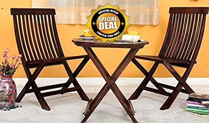 JS Home D??cor Rosewood Walnut Finish Round Table, Dining Set with Folding Chair (Brown) - Pack of 3