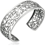 """Amazon Collection Sterling Silver Filigree Open Cuff Bracelet, 6.5"""""""