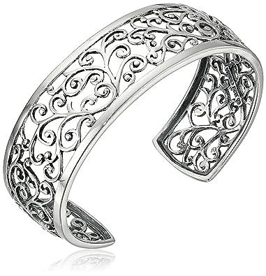 amazon com sterling silver oxidized filigree cuff bracelet 6 5