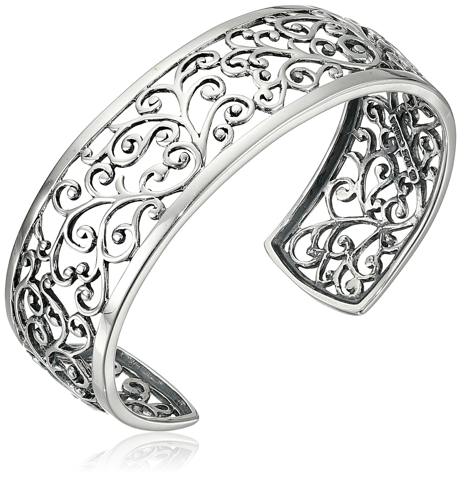 Sterling Silver Oxidized Filigree Cuff Bracelet, 6.5''