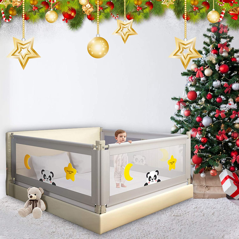 TOPQSC Barrera Cama niño, Barandilla Cama niños Abatible, Anticaidas Infantil, barandilla de la cama para bebés Protectores para cunas y camas de bebé Barrera de cama portátil Tamaño gigante (180cm)