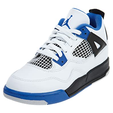 finest selection 01c75 47ce5 Nike Kid's Jordan Retro 4 Motor White/Game Royal Black Sports Shoes (3 m US)