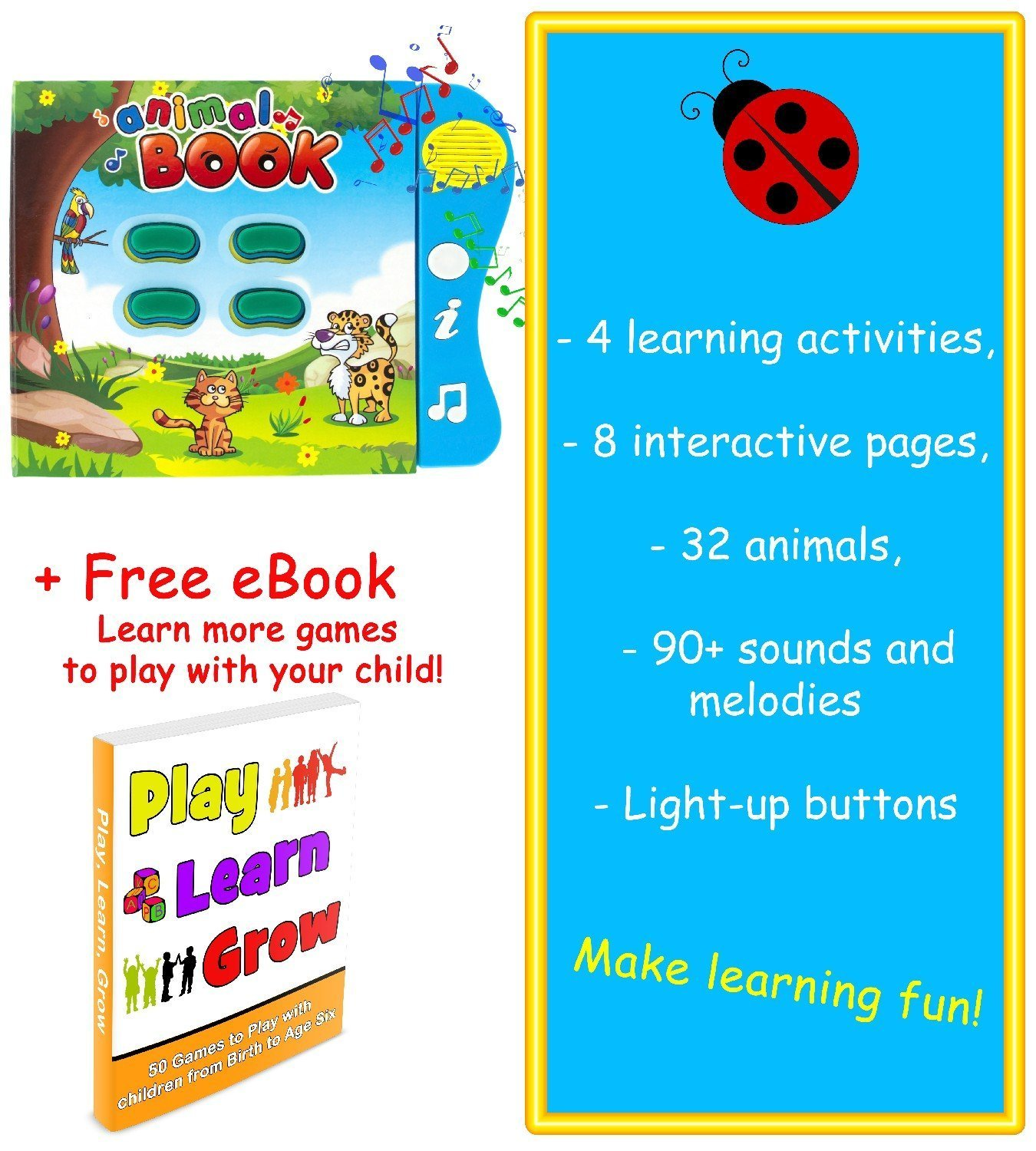 Amazon.com: Animal Learning Sound Book by Boxiki Kids: Toys & Games