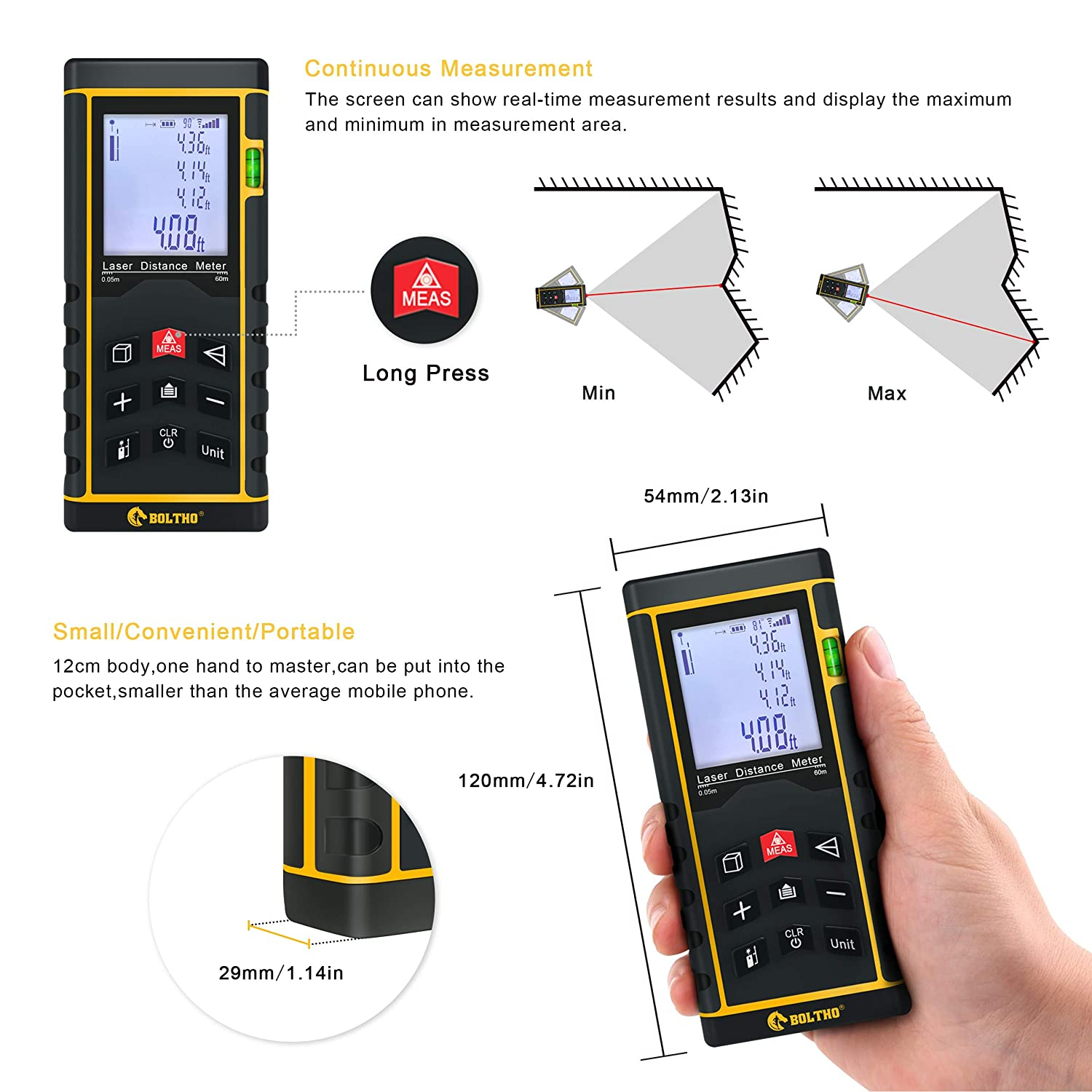 Area and Volume Pythagorean Mode Battery Included BOLTHO Laser Measure 196Ft//60M//In//Ft Laser Distance Meter with Electronic Level Portable High Precision and Backlight LCD Display Measure Distance