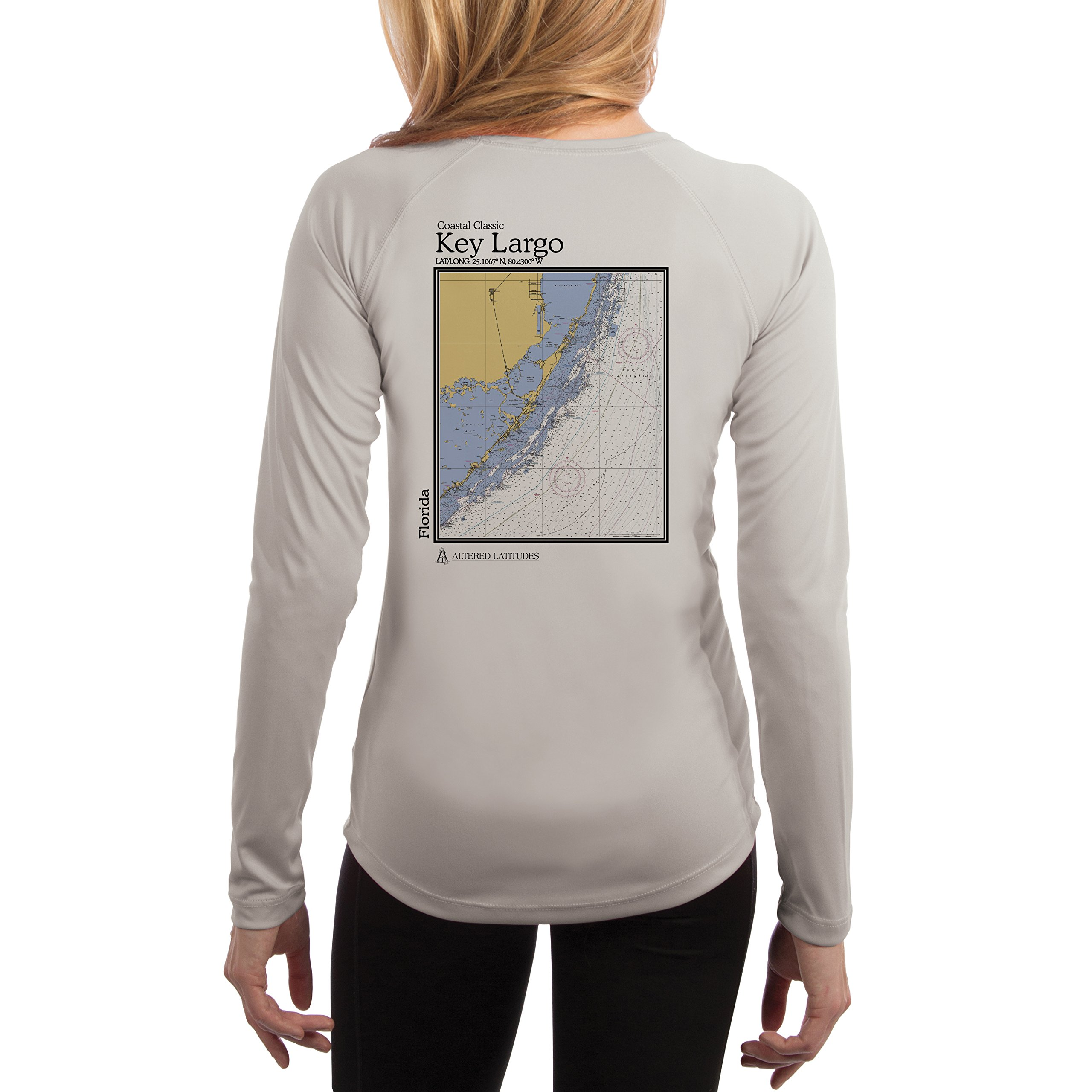 Altered Latitudes Key Largo Chart Women's UPF 50+ Sun Protection Long Sleeve T-Shirt X-Large Pearl Grey by Altered Latitudes