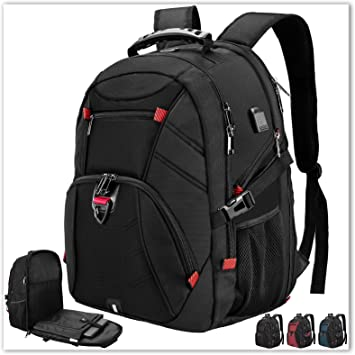 Pattern with Green Laptop Backpack 17 Inch Business Travel Backpacks School Backpacks Extra Large College School Bookbags with USB Charging Port for Travel Daypack