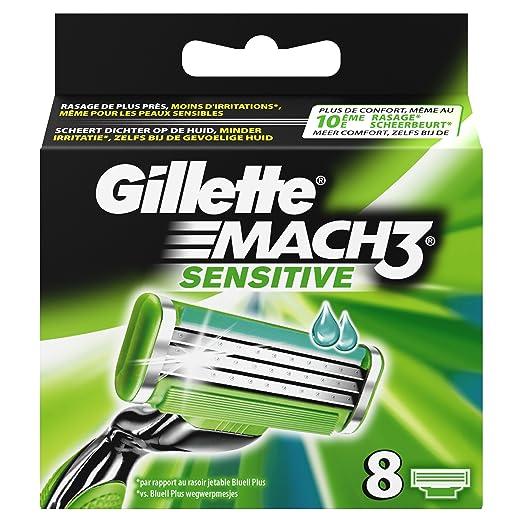 Gillette Mach3 - Cuchillas de afeitar para pieles sensibles para hombre: Amazon.es: Salud y cuidado personal