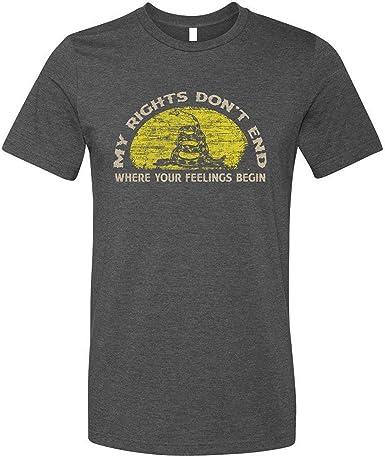 GunShowTees Camisa para Hombre con Texto en inglés My Rights Dont End Where Your Feelings Begin 2A Gun Rights