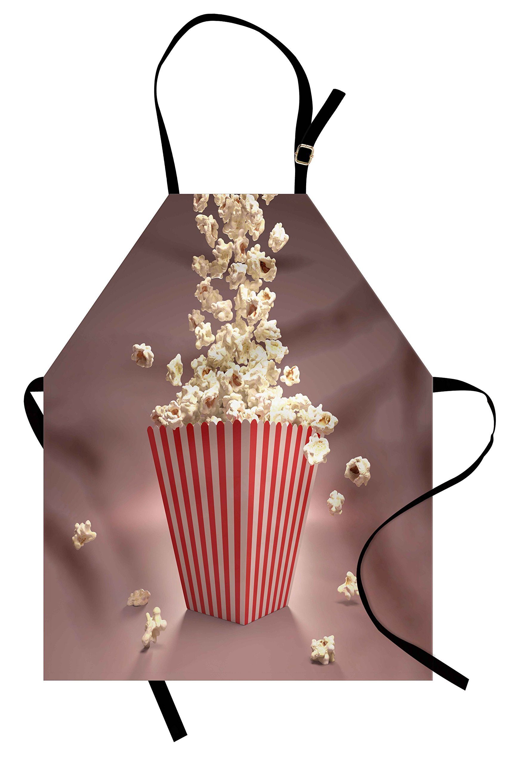 Lunarable Retro Apron, Retro Style Popcorn Art Image Cinema Movie Theater Theme in Classical Display, Unisex Kitchen Bib Apron with Adjustable Neck for Cooking Baking Gardening, Pale Red White
