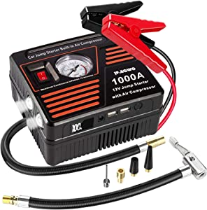JF.EGWO Portable Car Jump Starter with Air Compressor, 1000 AMP Lithium Car Jump Starter for Up to 7.0L Gas or 5.5L Diesel Engine, 100 PSI Tire Inflator Pump, USB Charging Ports and 2 LED Light