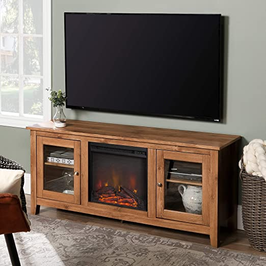 WE Furniture Traditional Wood Fireplace Stand for TV\'s up to 64\