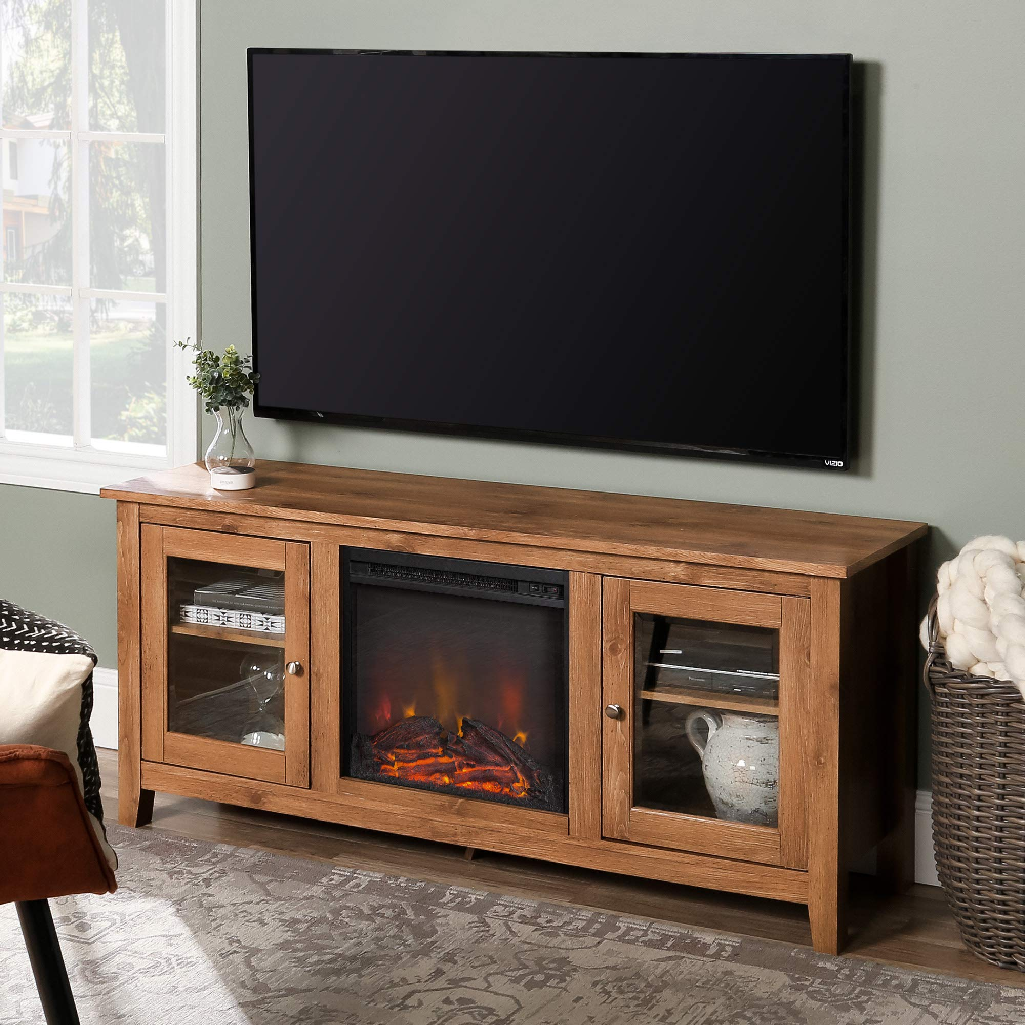 WE Furniture Traditional Wood Fireplace Stand for TV's up to 64'' Living Room Storage, Barnwood Brown by WE Furniture