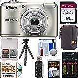 Nikon Coolpix A10 Digital Camera (Silver) with 16GB Card + Batteries & Charger + Case + Flex Tripod + Kit