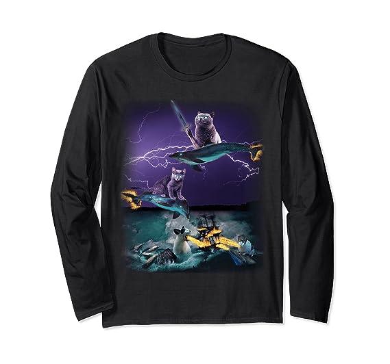 911c95dac3142 Amazon.com: Cats Riding Fire Dolphins Wreaking Sea Havoc Long Sleeve Tee:  Clothing