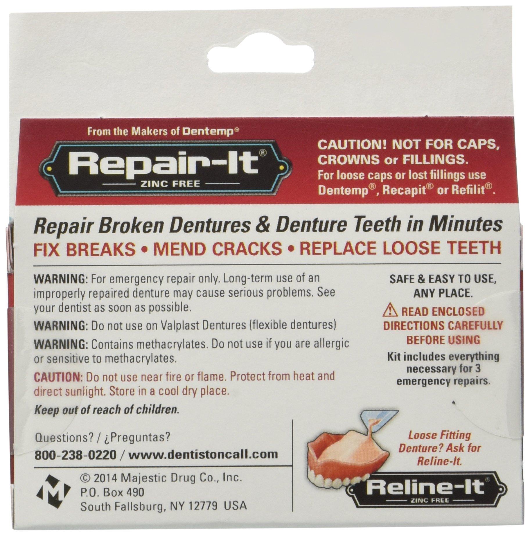 D.O.C. Repair-It Advanced Formula Denture Repair Kit 3 ea (Pack of 6)