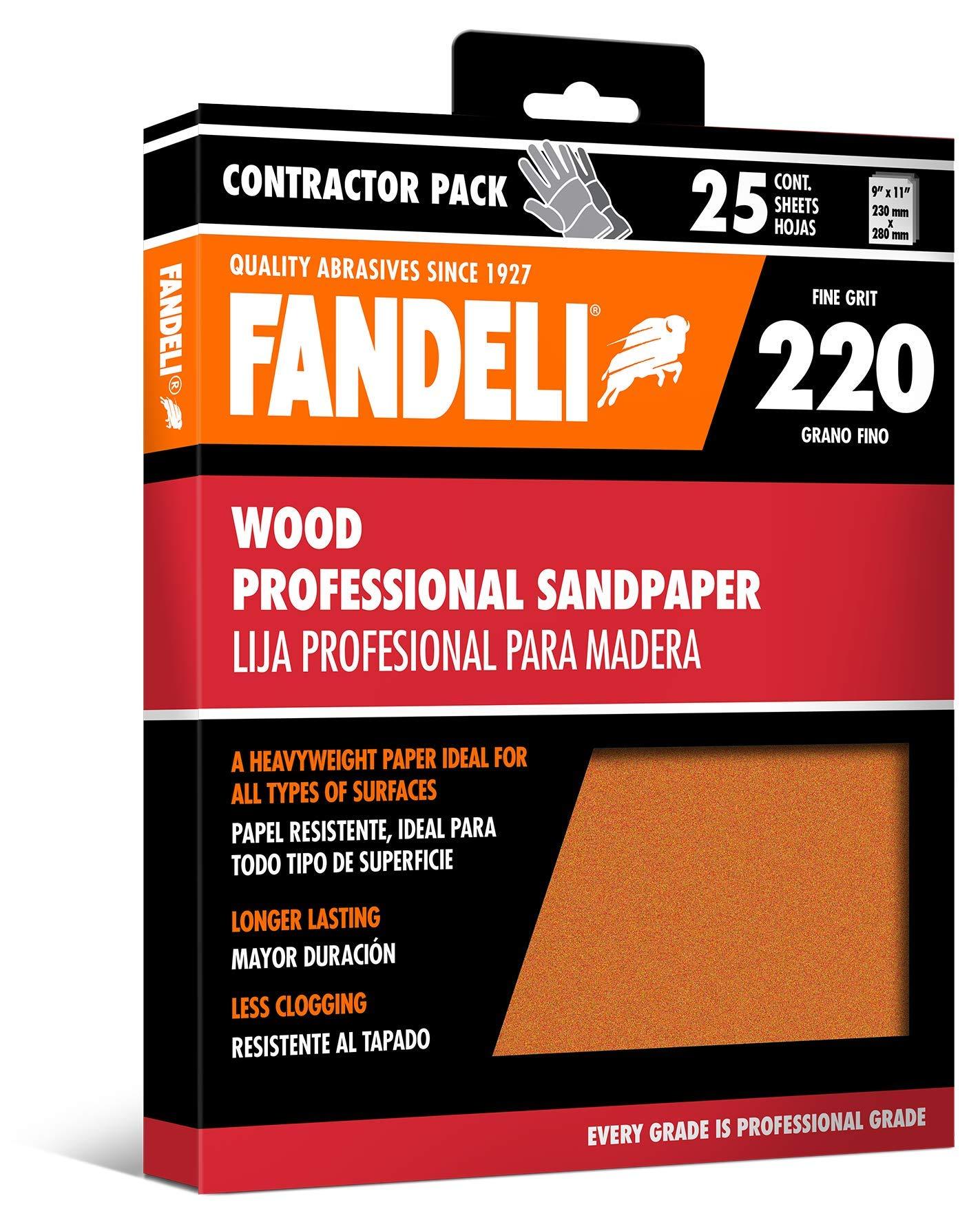 Fandeli 36014 220 Grit Wood Sandpaper Sheets, 9''  x 11'', 25-Sheet by Fandeli