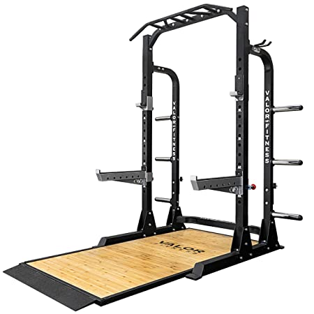 Valor Fitness PRO BD-58 Half Rack w Plate Storage, Multi-Grip Pull Up Station, Bar Storage, Plus Bundle Option to add Weightlifting Platform 1000 lb. Capacity