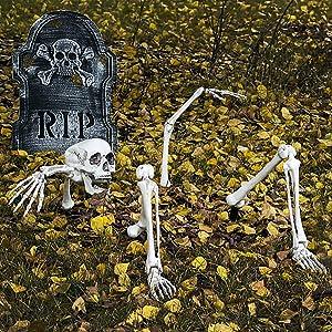 Halloween Skeleton Bones and Skull for Graveyard Ground Decoration,Halloween Decorations Outdoor
