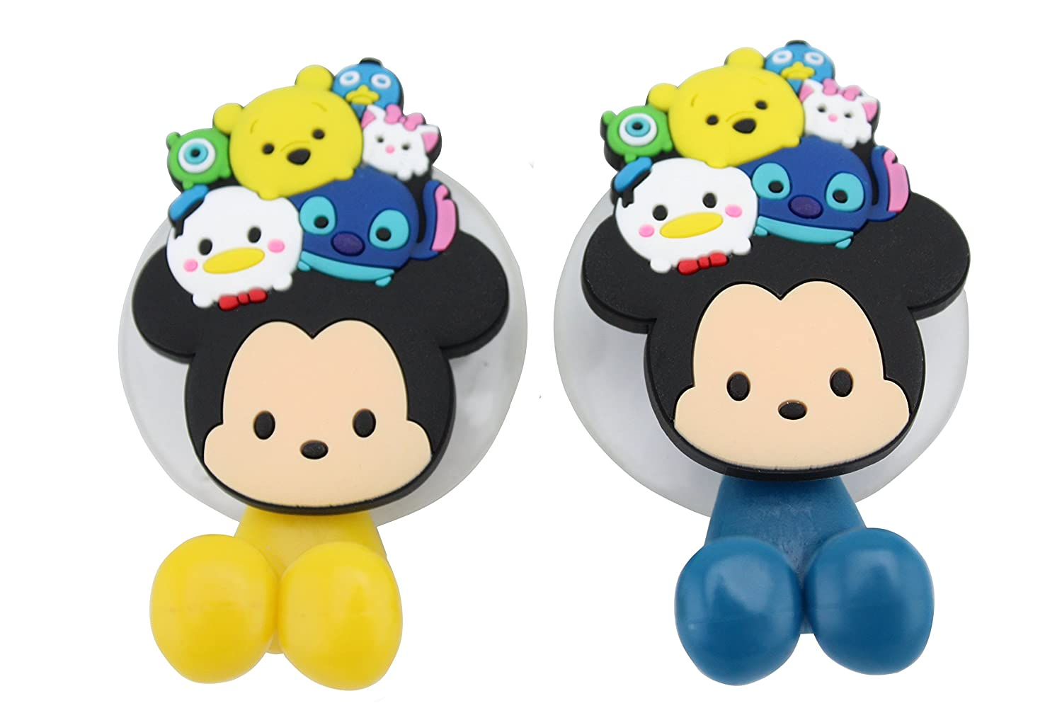 Winnie the pooh bathroom sets - Amazon Com Finex Set Of 2 Disney Tsum Tsum Mickey Mouse And Friends Toothbrush Holders With Suction Cup For Wall In Bathroom At Home With Winnie The